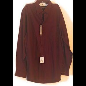 NORDSTROM Dress Shirt Mens 16 36/37 Dark Red Sz L